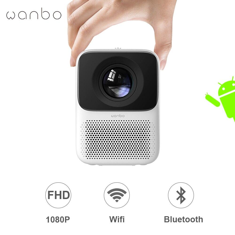 Wanbo T2 Max Full HD 1080P Смарт Мини проектор Поддержка ТВ 4k Android Wifi домашний кинотеатр Bluetooth светодиодный проектор глобальная версия