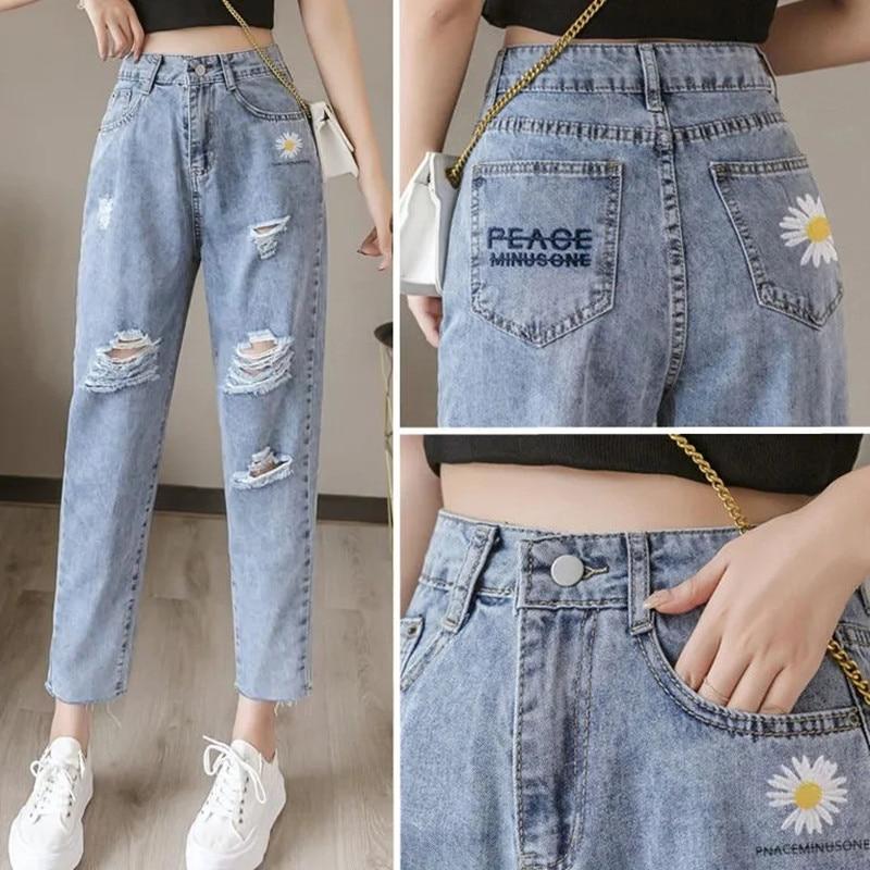 Женские рваные джинсы с вышивкой и маргаритками, свободные укороченные брюки, лето 2021, тонкие прямые брюки с высокой талией, BF tide