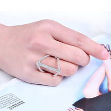 NJ Special Classic Alloy Silver Ring For Women Wedding Couple Chic Crystal Rings Female Fashion Jewelry Party