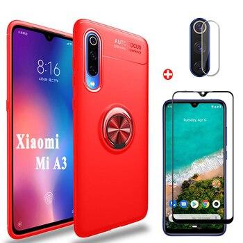 3in1 Xiaomi MiA3 Camera+Glass+Magnetic Ring Case For Mi A3 Silicone Bumper Protector Cover Xiomi A3 mi-a3 mia3 Shockproof Cases