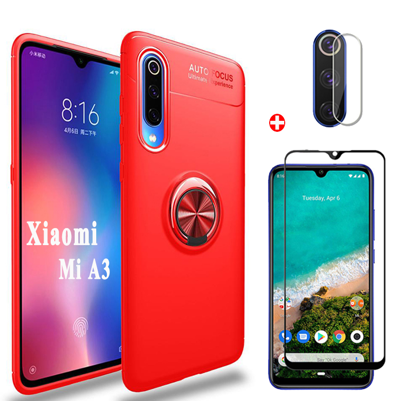 3in1 Xiaomi MiA3 <font><b>Camera</b></font>+<font><b>Glass</b></font>+Magnetic Ring Case For <font><b>Mi</b></font> A3 Silicone Bumper Protector Cover Xiomi A3 <font><b>mi</b></font>-a3 mia3 Shockproof Cases image
