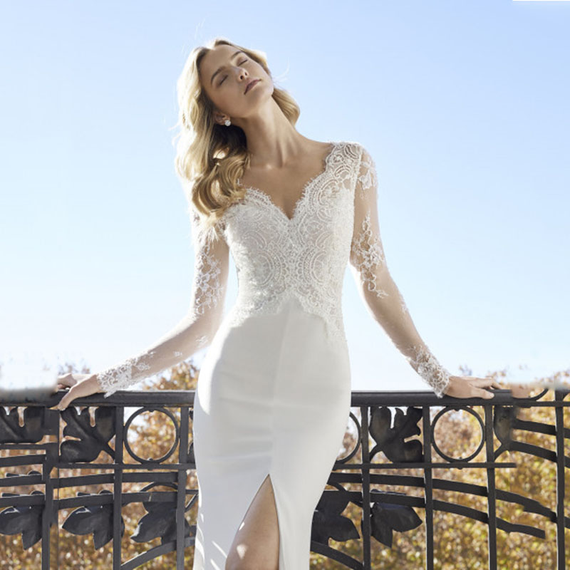 Image 4 - Classic High Slits Wedding Dresses V neck Long Sleeve Lace Appliqued Bridal Gowns Plus Size Dubai Arabic Boho Dubai Wedding Gown-in Wedding Dresses from Weddings & Events