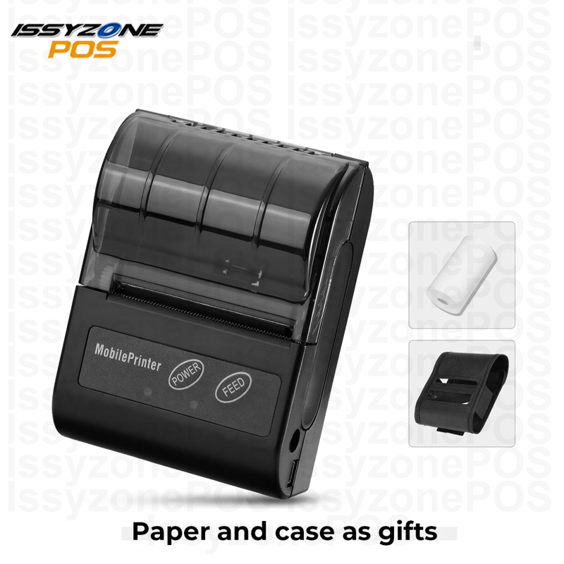 Issyzone Bluetooth Printer Barcode Handheld Thermal Receipt 58mm Printer For Android IOS Protable Print Logo Supermarket Retail