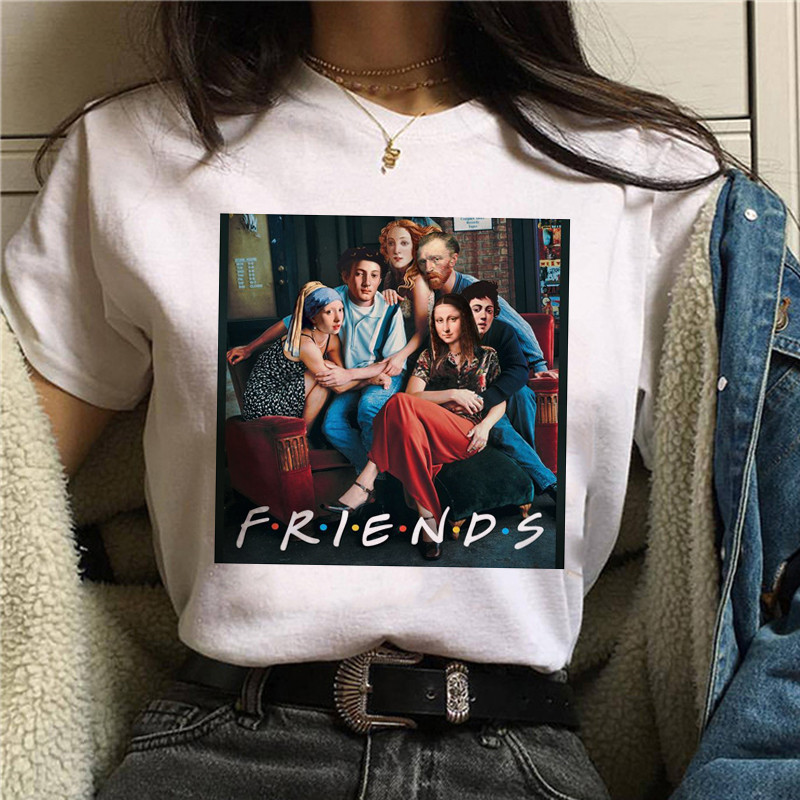 Harajuku Aesthetic Tshirt Women Mona Lisa Spoof Personality Oil Painting Tops Female T-shirt Vintage 90s Cartoon Korean Clothes