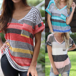 Tshirt Tops Poleras Print Women Harajuku Mujer Stripe Fashion Ropa Short-Sleeve Pocket