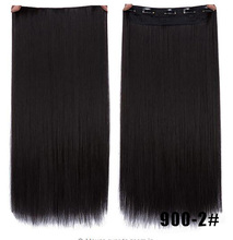 WTB 24 Inches 60cm Fall To Hips Clip In One Piece Hair Extensions 3/4 Head 5 Clips Straight Synthetic Hairpiece