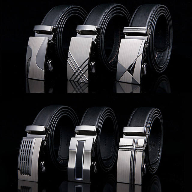 Famous Brand New Male Designer Automatic Buckle Cowhide Leather belt 110cm-150cm Luxury for men