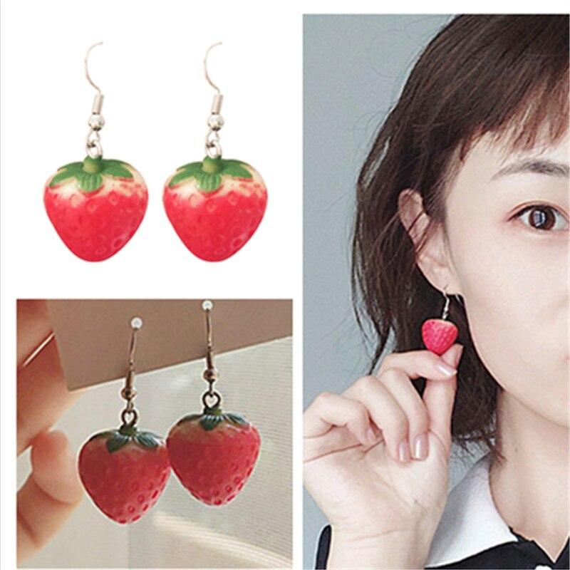 Neue Obst Erdbeere Ohrring Weiblichen Schönen Mädchen Simulation Rote Erdbeere Baumeln Ohrringe für Frauen korean Fashion Schmuck