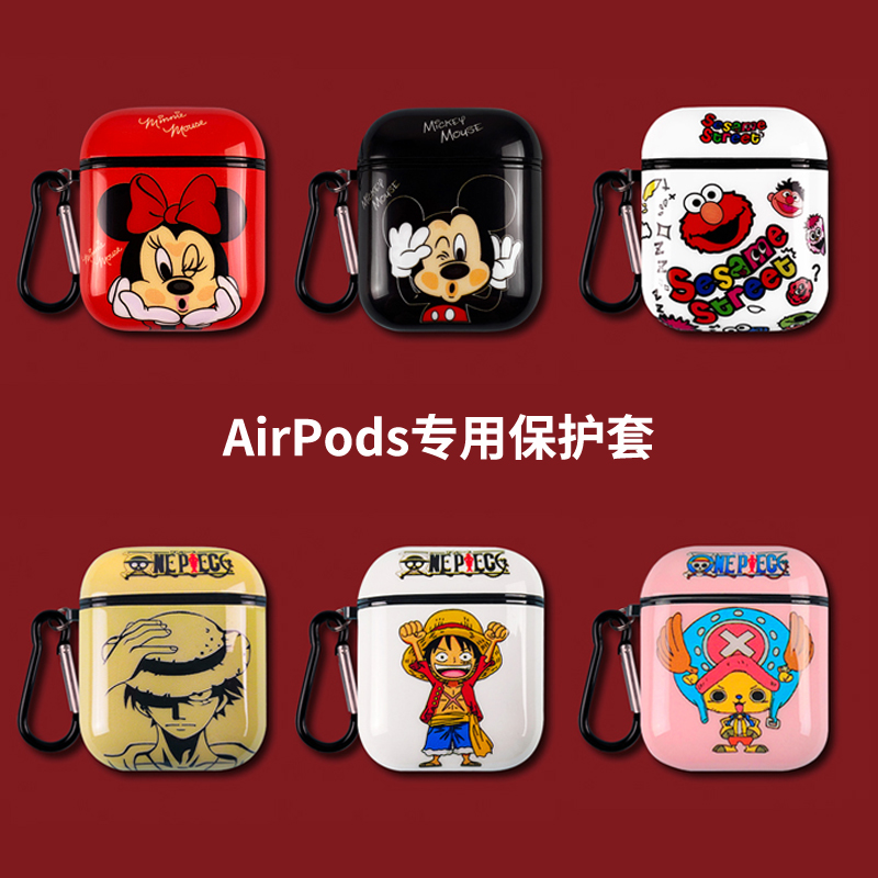 Silicone Cartoon One Piece Luffy Chopper Minnie Mickey Mouse Sesame Street Headphone Cases For Apple Airpods 1/2 TPU Soft Cover