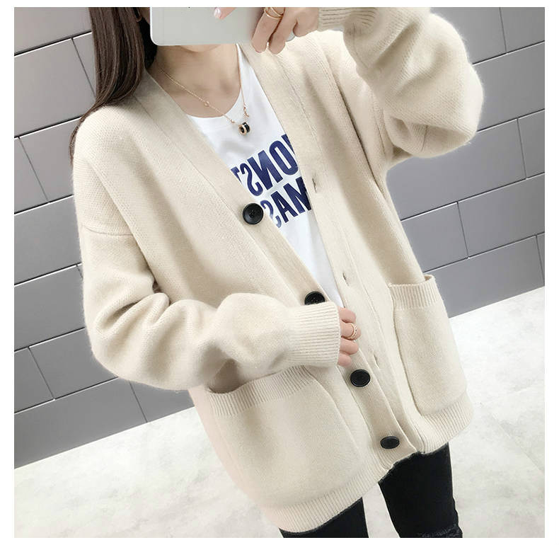 Woherb Black Knitted Sweater Women V Neck Long Sleeve Solid Color Cardigan Vintage Harajuku Casual Loose Tops Fashion New 90728 21