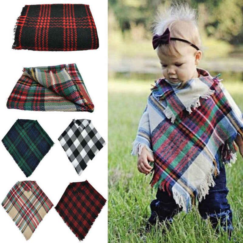 Fashion Winter Kid Children Baby Girl Boy Wool Scarf Tartan Scarf Unisex