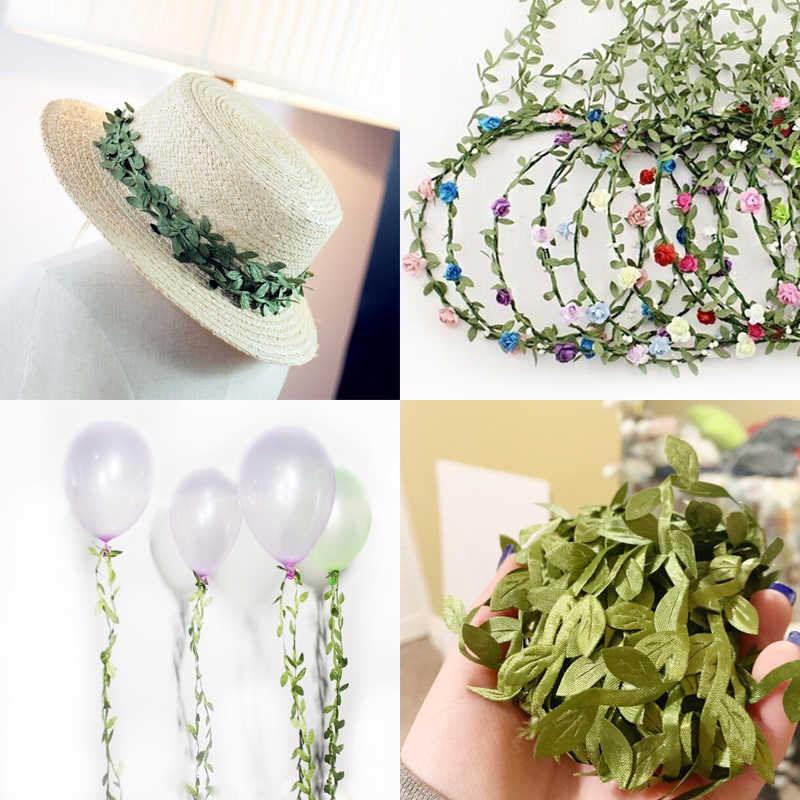 10 หลาผ้าไหมรูป Handmake ประดิษฐ์สีเขียวสำหรับงานแต่งงานตกแต่ง DIY พวงหรีด Scrapbooking หัตถกรรมดอกไม้ปลอม
