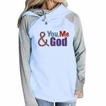 Худи женское хлопковое на молнии с надписью «you me god»