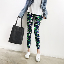 Women Camouflage Pants Camo Cargo High Waist Elastic Slim Fashion Printed Pant Lady Army Green Capris