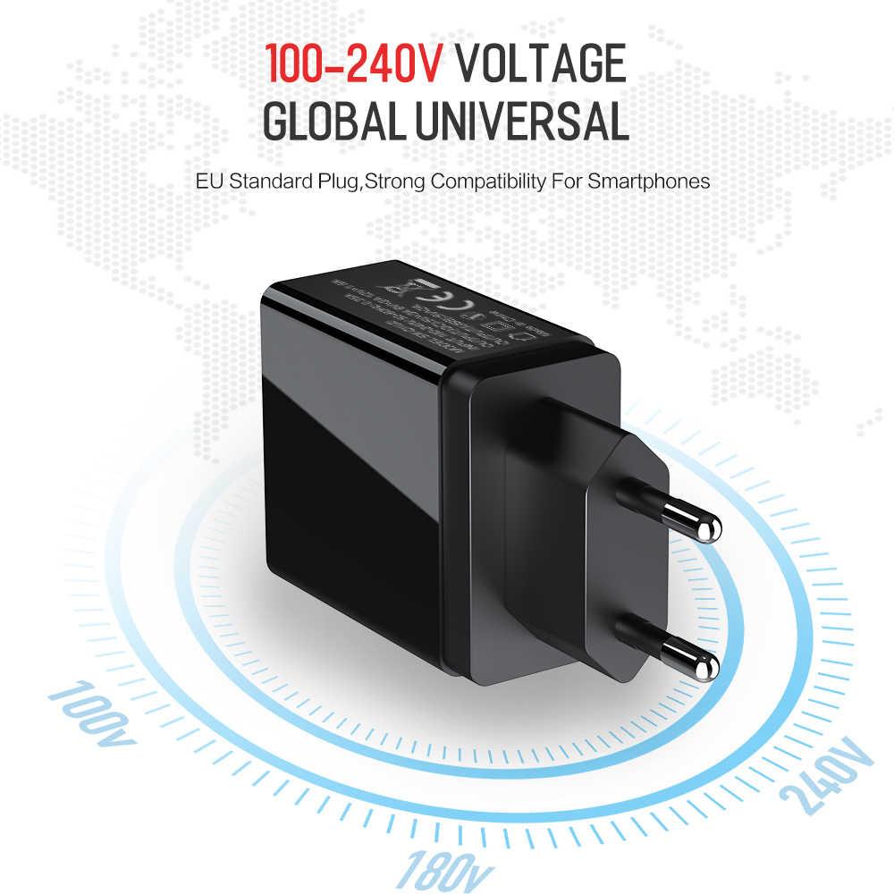 Pengisian Cepat 3.0 USB Ponsel Charger LED Digital 3 Port USB 3A LED Display Uni Eropa Dinding Charger Pengisian Cepat untuk Iphone Samsung