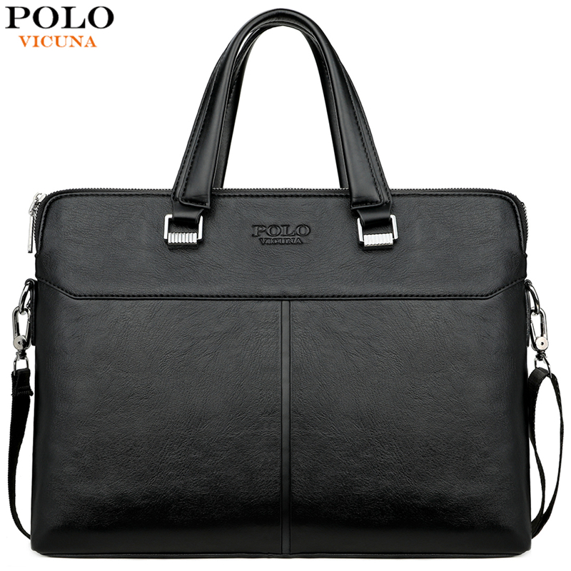 VICUNA POLO Classic Black Business Man Bag Leisure Leather Mens Handbag For Laptop OL Men s Innrech Market.com