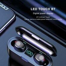 Беспроводная bluetooth-гарнитура V5.0 F9 TWS беспроводные bluetooth-наушники светодиодный дисплей с 2000 мАч power bank наушники с microph