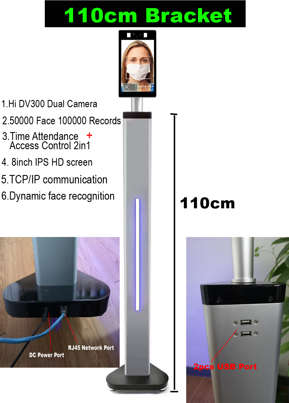 8 Inch TCP/IP Dynamic Face Recognition Thermal Time Attendance Access Control 2.0 MP Camera 50000 Faces Temperature Detection
