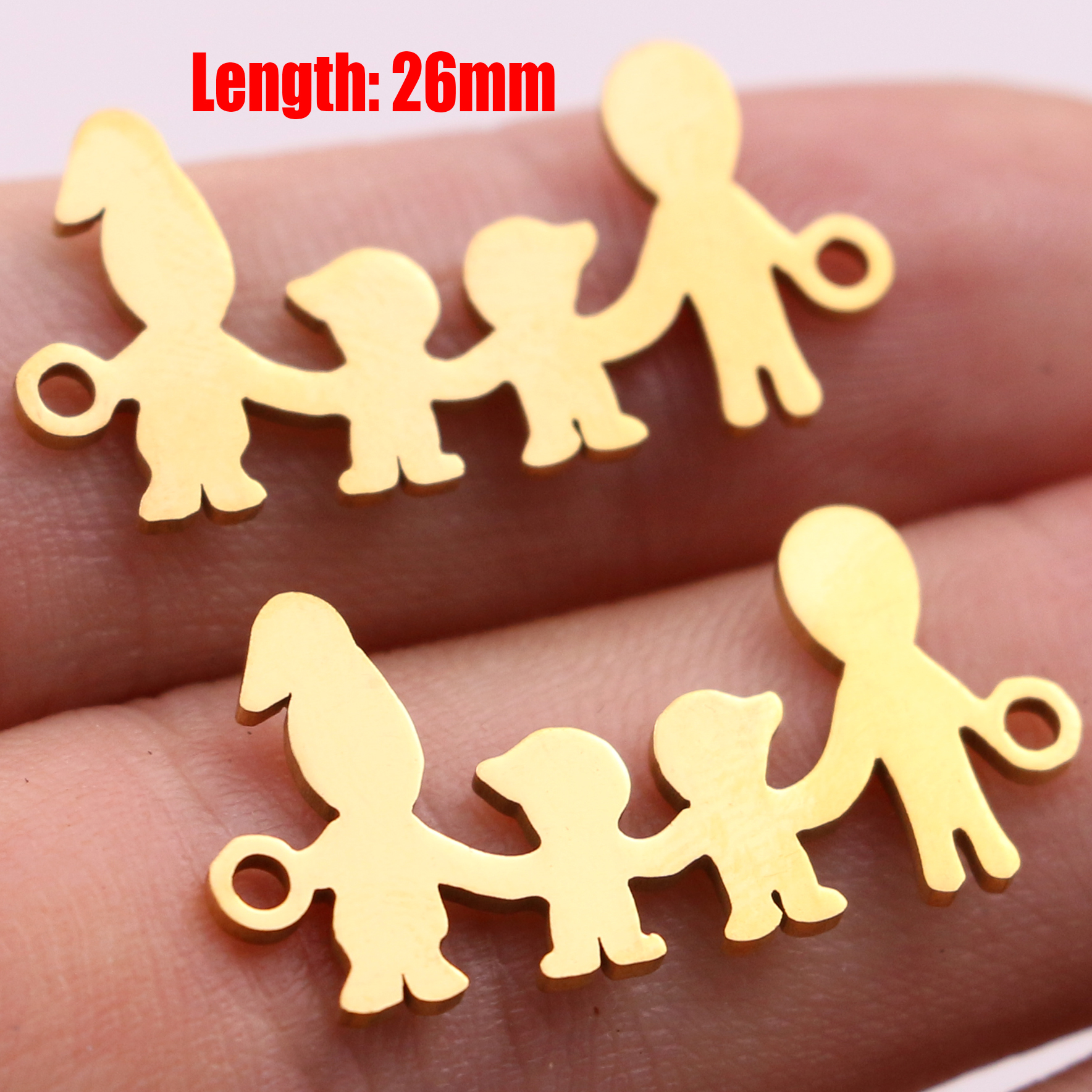 5pcs Family Chain Stainless Steel Pendant Necklace Parents and Children Necklaces Gold/steel Jewelry Gift for Mom Dad New Twice - Цвет: Gold 35