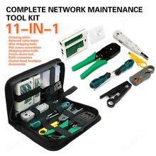 11 in 1 FTTH kablo test cihazı ağ tamir aracı LAN kablo test cihazı tel kesici tornavida pense sıkma bakım kiti