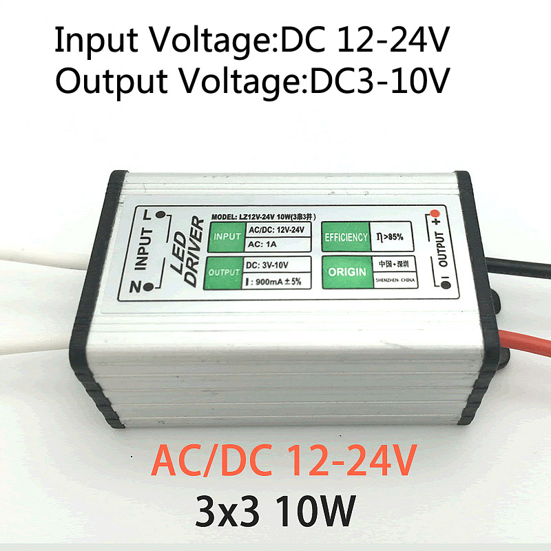 20pcs12v-24v DC to 3-10V DC <font><b>10W</b></font> <font><b>900ma</b></font> <font><b>LED</b></font> <font><b>Driver</b></font> Adapter Transformer Switch Power Supply IP67 Floodlight (3 Series 3 Parallel) image