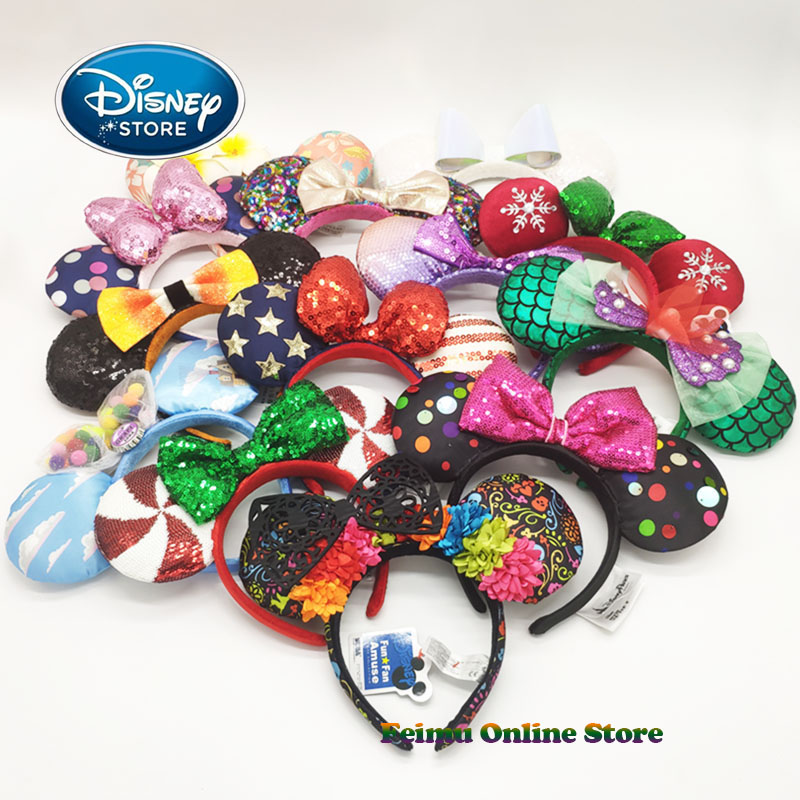Disney 3D Minnie Mickey Ears Disneyland Hair Hoop Beauty And Beast Headband Party Headwear Girl Toys Birthday Party Decoration
