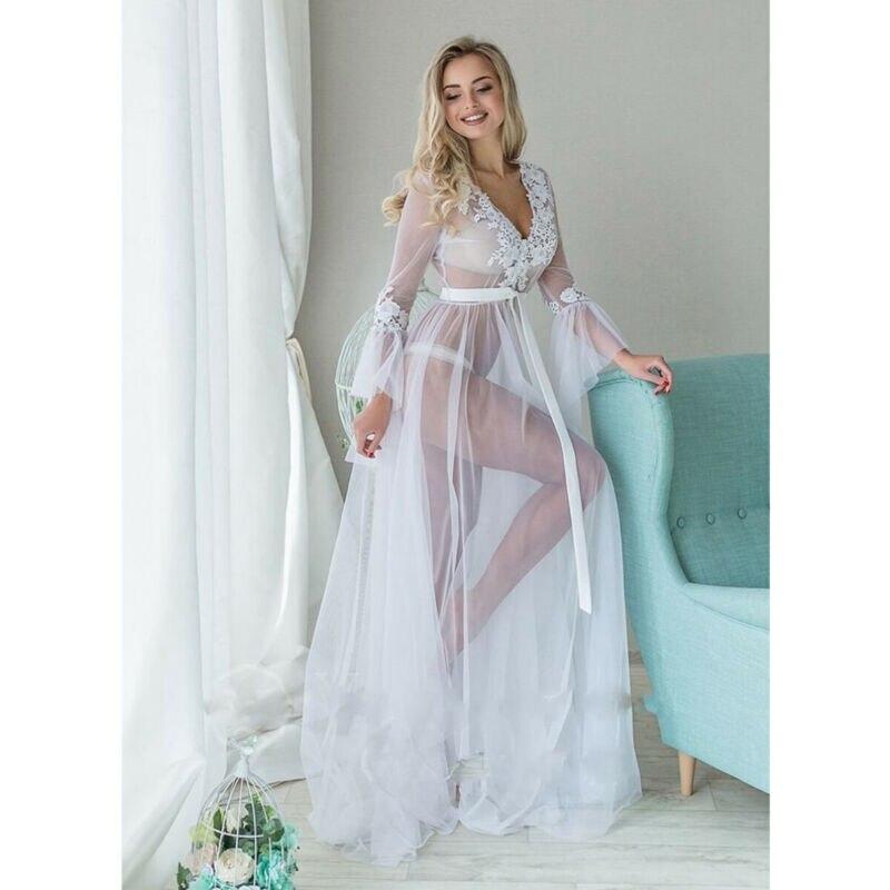 Sexy Women Lingerie Lace Sleepwear Deep V-neck White Long Sleeve Babydoll See Through Ladies Floral Long Dress Ladies Nightskirt