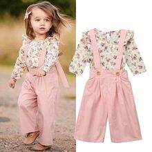 Детская зимняя одежда для маленьких девочек из 2 предметов топы с цветочным принтом+ штаны, комбинезон, комплекты милый комплект одежды для девочек
