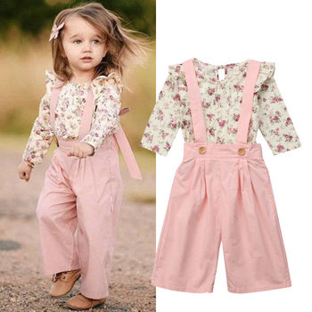 2PCS Toddler Kids Baby Girl Winter Clothes Floral Tops+Pants Overall Outfits sweet girl clothes set winter baby girl clothes set kids clothing sets thick warm baby coats pants 2pcs kids suits flower toddler baby clothes outfits