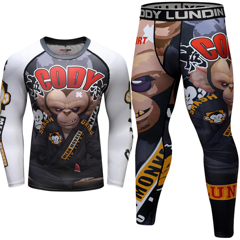 Men's Fight T Shirt Bjj Jiu Jitsu 3D Print MMA Rashgaurd Set Muay Thai Compression KickBoxing Tight Trousers Boxing Jerseys Suit