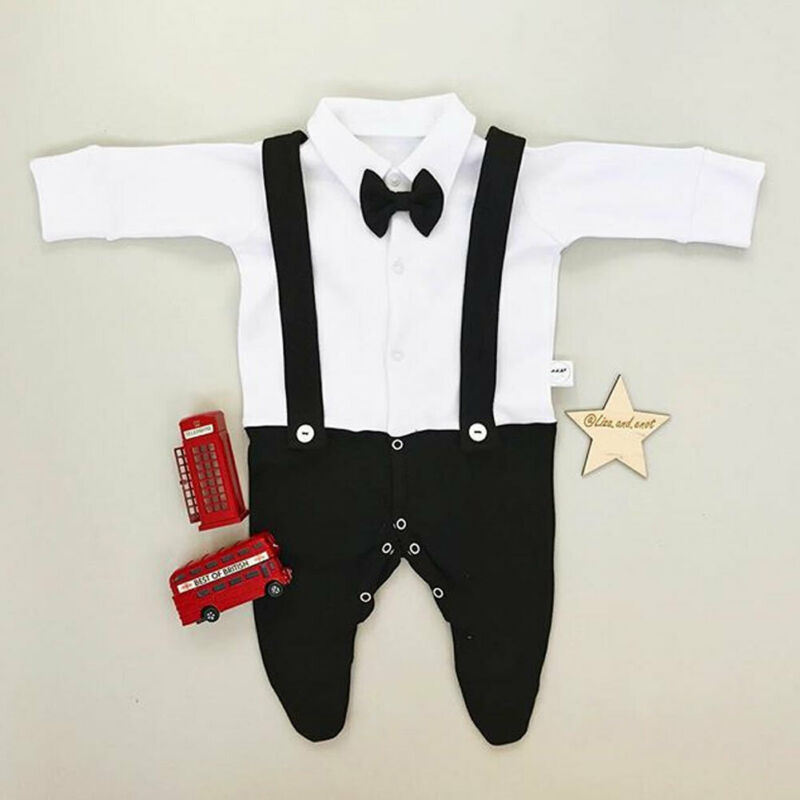Infant Baby Boy Kids Rompoer Clothes Set For Christmas Xmas Party Long Sleeve Jumpsuit Strap Shirt Bib Pants Clothes Outfits