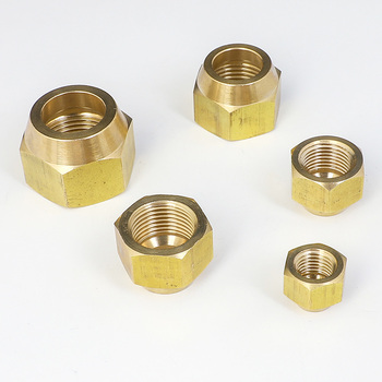 Brass Thicken Nut For 45 Degree SAE 1/4 3/8 1/2 3/4 Flare Pipe Fitting Adapeter Air conditioner image