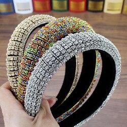 Artesanal acolchoado casamento headdress cheio de cristal barroco tiara bandana luxo diamante hairband para as mulheres acessórios de cabelo nupcial