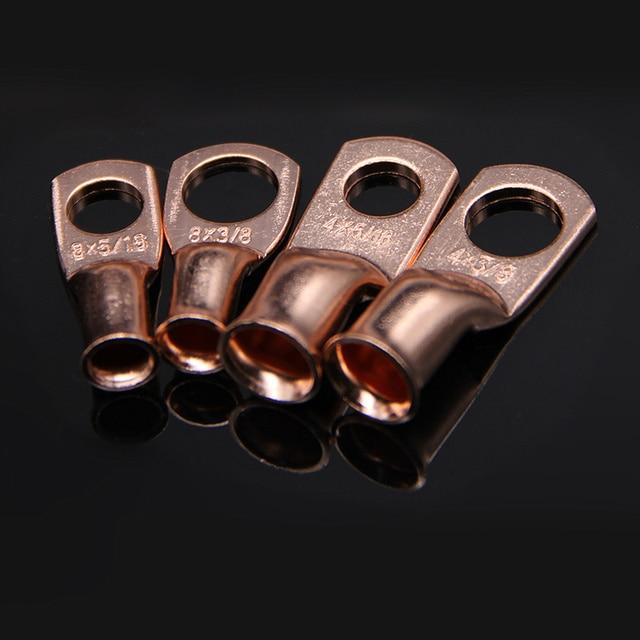 30 pièces assortiment 4/8 AWG cuivre nu anneau de cosse connecteurs de fil extrémités fermées nu câble épissure sertissage bornes boîte Kit 4AWG