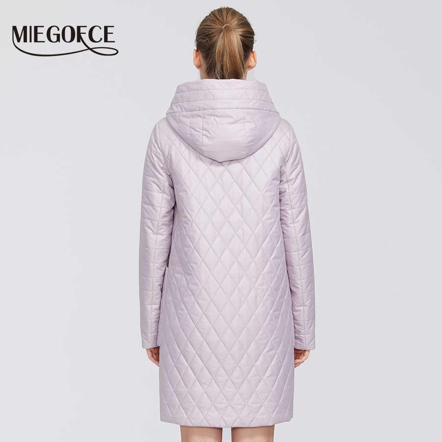 MIEGOFCE 2020 신사용 컬렉션 봄 자켓 코트 마름모 무늬 파카 딥 포켓 내성 후드 칼라 코트