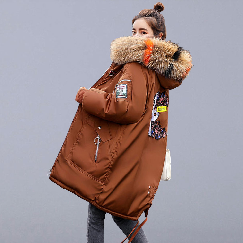 Fur Hooded Coats Padded Outerwear Parkas Long-Jackets Embroidery Female Thicken Winter
