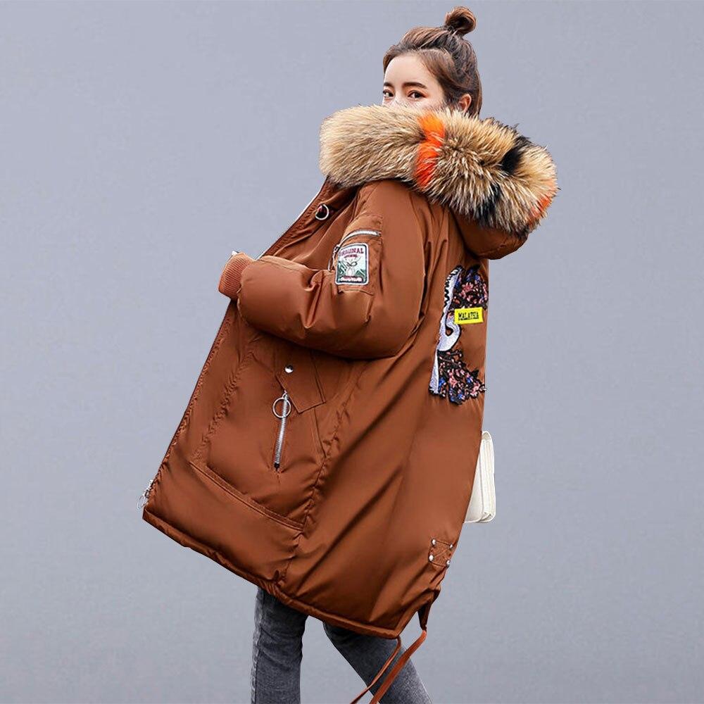 Winter Warm Verdicken Lange Jacken Casual Mäntel Frauen Neue Stickerei Pelz Mit Kapuze Parkas Weibliche Baumwolle Gepolsterte Oberbekleidung Mäntel P109