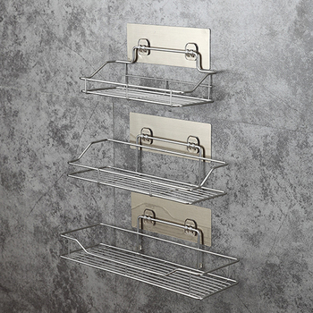 Stainless Steel Bathroom Storage Shelf Punch-Free Kitchen Bathroom Toilet Wall Hanging Storage Rack Wall Mounted Shelf Rack 2016 top fashion real shelves for bathroom toothbrush holder stainless steel bathroom shelf wall mounted storage rack 50cm kf175