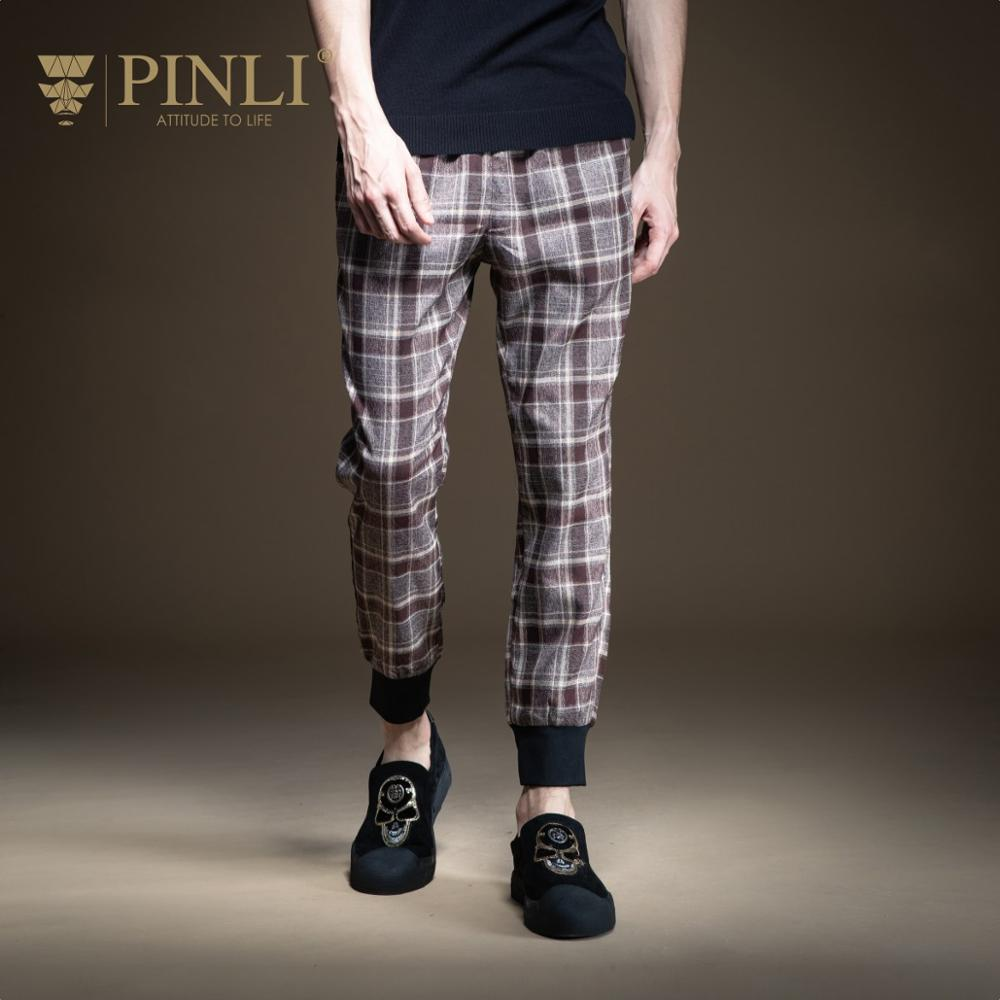 Pinli 2020 Spring New Slim Retro Classic Stitching Pencil Pants Polyester Comfort Fabric Men's Trendy Casual Pants B201417054