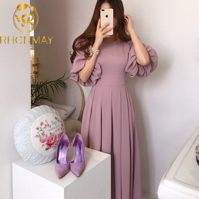 Korean Solid Casual Chic Elegant Women Dress 2020 Summer Vestido Round neck High waist Straps Lantern sleeves Pleated Long Dress