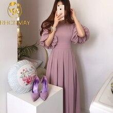 Korean Solid Casual Chic Elegant Women Dress 2020 Summer Ves