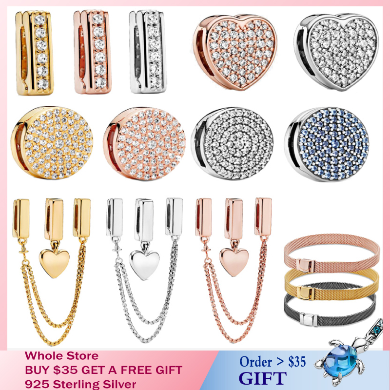 Special offer 100% 925 Sterling Silver Timeless Sparkling Clip Charms fit Original Pandora Reflexions Bracelet Gift for DIY(China)