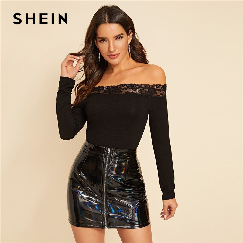 SHEIN Black Off The Shoulder Contrast Lace Elegant T-Shirt Women Tops 2019 Autumn Long Sleeve Solid Form Fitted Basic Tees