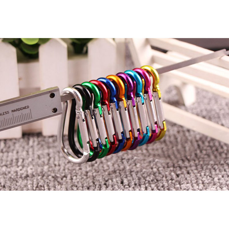 20PCS Aluminum Carabiner Key Chain Clip Outdoor Camping Keyring Snap Hook Water Bottle Buckle Travel Climbing Accessories NEW