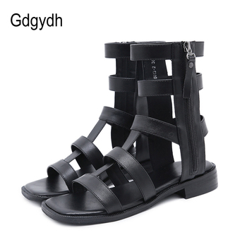 Gdgydh Zip Roman Style Sandals For Women 2020 Summer Gladiator Breathable Sandals Low Heel Comfortable Ankle Strap Drop Shipping high quality women fashion strappy patent leather gladiator sandals cut out ankle strap high heel sandals free shipping