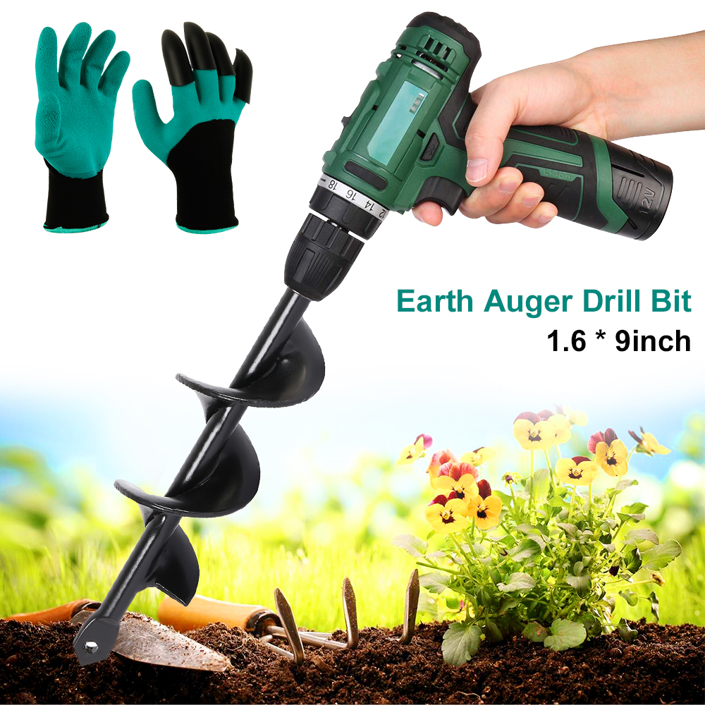 Garden Auger Drill Bit Replacement Electric Cordless Gardening Farm Planting Spiral Digger Tool With Gloves