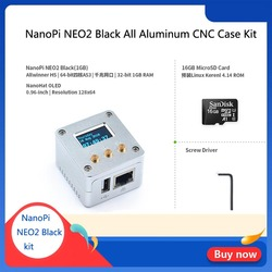 NanoPi NEO2 Zwart all-aluminium CNC case kit met oled-scherm running Ubuntu