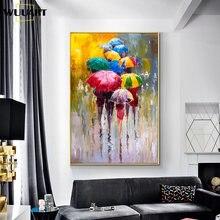 Ручная роспись маслом на холсте абстрактные люди под дождем