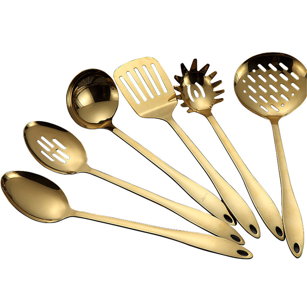 Stainless Steel Cooking Tool Set Shovel Soup Noodles Spoon Set  Long Handle Kitchen Tool Accessories With Storage Tube 7 PcsTurners