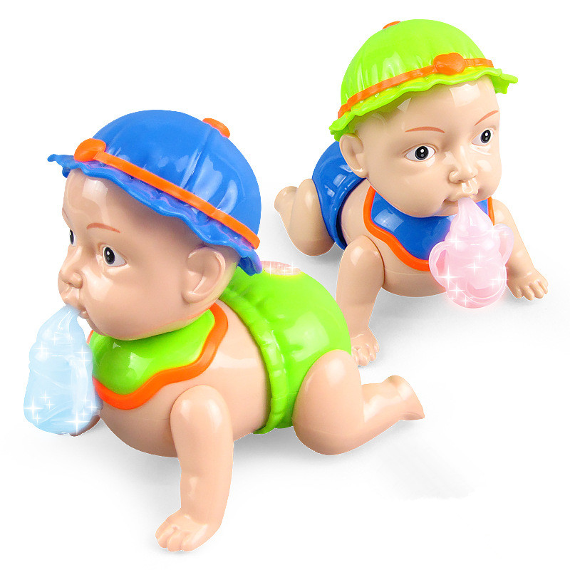 Cute Electric Crawl Baby Toy Music Light Dancing Walking Doll Kids Toys
